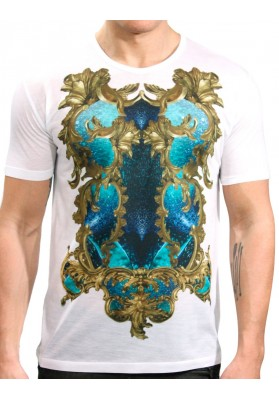 Camiseta Ornamento Branco  Manga Curta - KK Fashion Brand