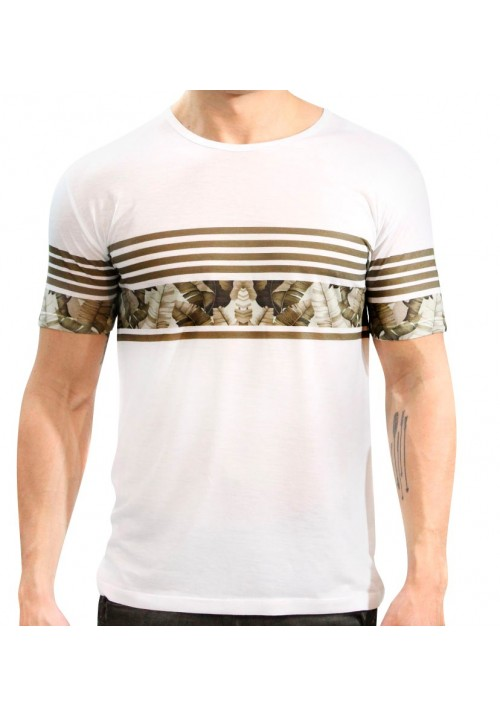 Camiseta Tropical Branca Manga Curta - KK Fashion Brand